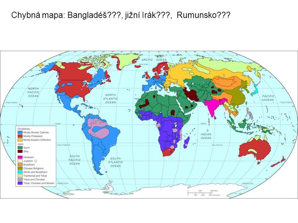 Chybná mapa: Bangladéš???, jižní Irák???, Rumunsko???