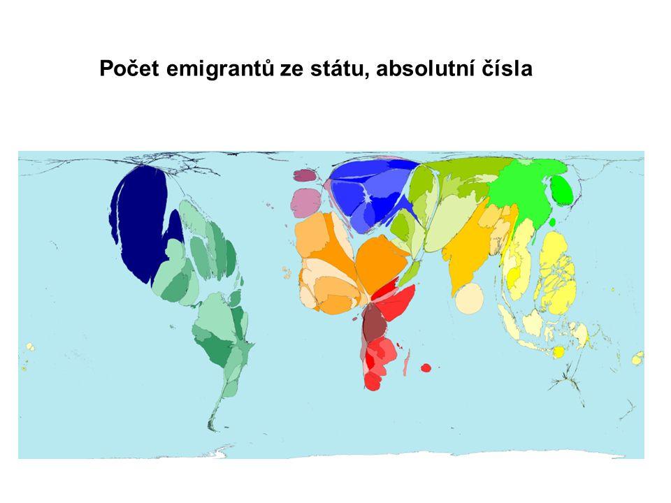Počet emigrantů ze státu, absolutní čísla