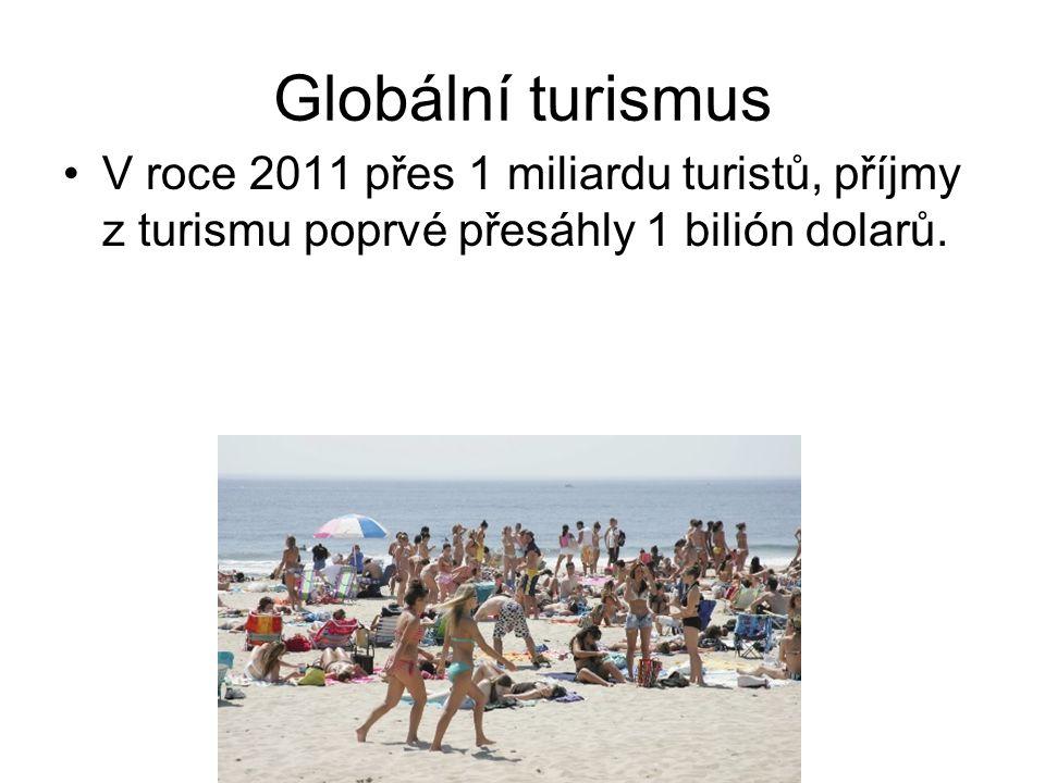 Globální turismus V roce 2011 přes 1 miliardu turistů, příjmy z turismu poprvé přesáhly 1 bilión dolarů.