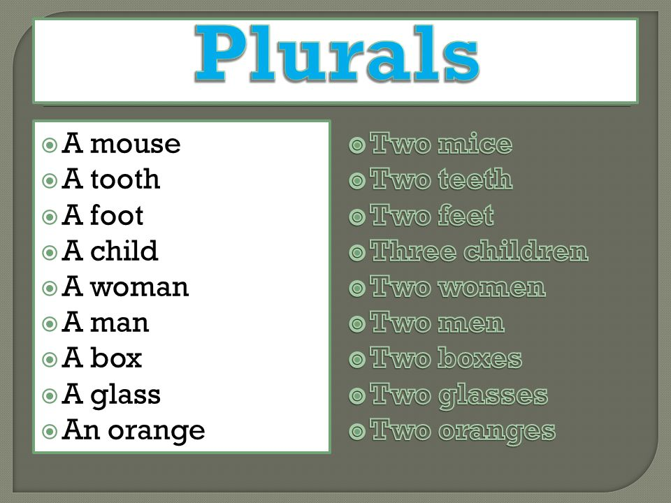  A mouse  A tooth  A foot  A child  A woman  A man  A box  A glass  An orange