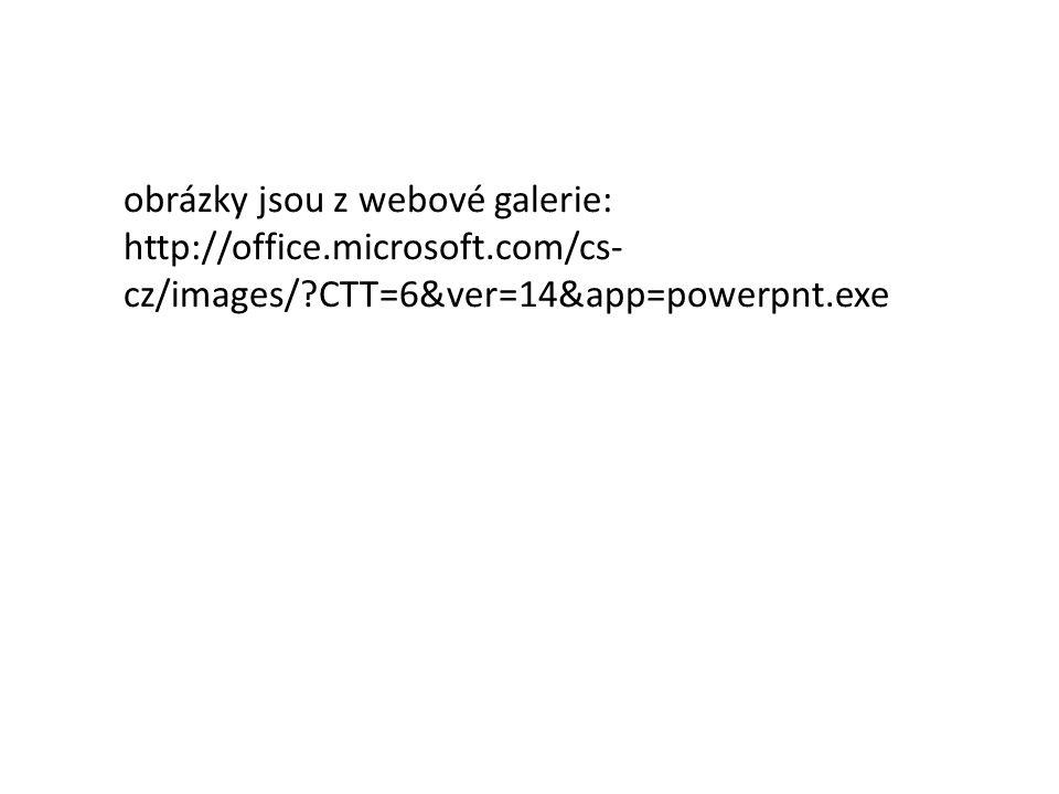 obrázky jsou z webové galerie: http://office.microsoft.com/cs- cz/images/?CTT=6&ver=14&app=powerpnt.exe