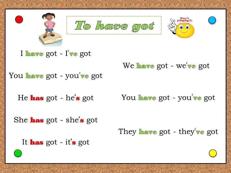Doplň do vět have nebo has.Kontrola kliknutím. He ________ got a guinea pig.