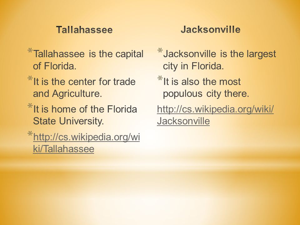 * Tallahassee is the capital of Florida. * It is the center for trade and Agriculture. * It is home of the Florida State University. * http://cs.wikip