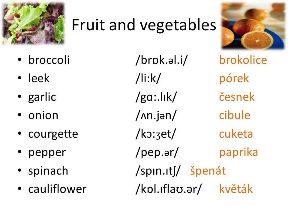 Fruit and vegetables celery/sel.