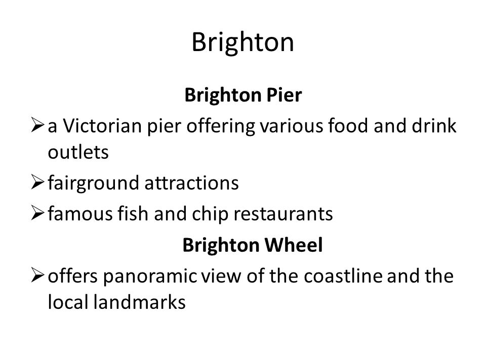 Brighton Brighton Pier  a Victorian pier offering various food and drink outlets  fairground attractions  famous fish and chip restaurants Brighton