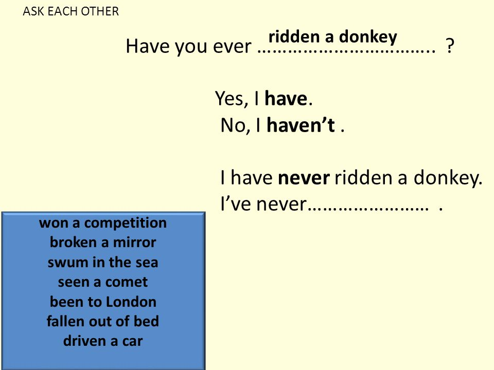 Have you ever …………………………….. ? Yes, I have. No, I haven't. I have never ridden a donkey. I've never……………………. ridden a donkey won a competition broken a