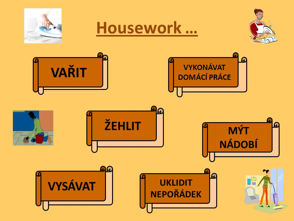 Housework … DO THE COOKING DO THE HOUSEWORK DO THE IRONING DO THE WASHING-UP DO THE VACUUMING/ HOOVERING CLEAR UP THE MESS VAŘIT VYKONÁVAT DOMÁCÍ PRÁCE ŽEHLIT MÝT NÁDOBÍ VYSÁVAT UKLIDIT NEPOŘÁDEK