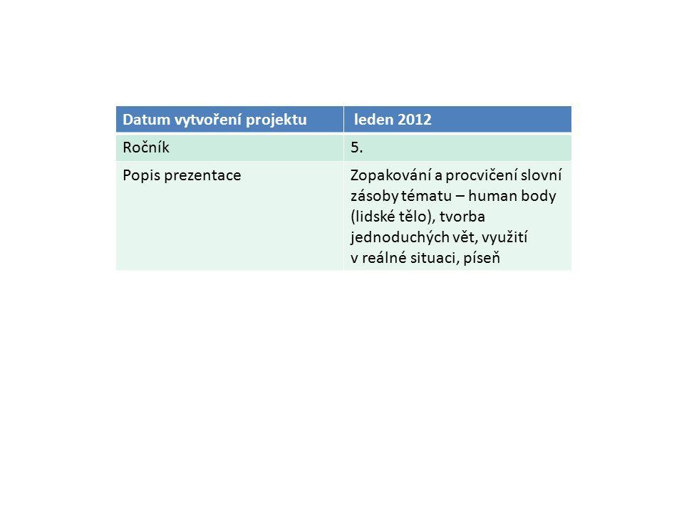 Datum vytvoření projektu leden 2012 Ročník5. Popis prezentaceZopakování a procvičení slovní zásoby tématu – human body (lidské tělo), tvorba jednoduch