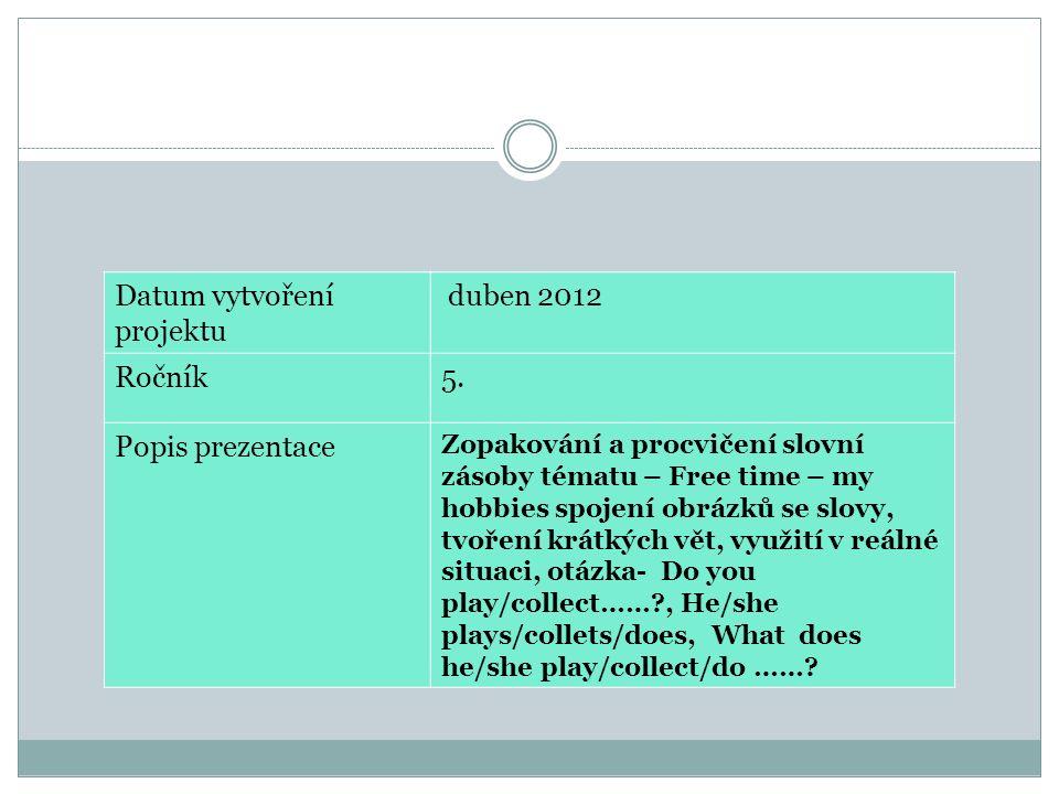 Datum vytvoření projektu duben 2012 Ročník5. Popis prezentace Zopakování a procvičení slovní zásoby tématu – Free time – my hobbies spojení obrázků se