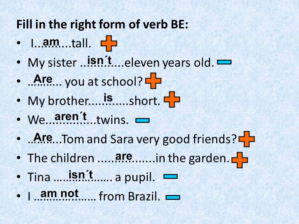 Fill in the right form of verb BE: I...........tall.