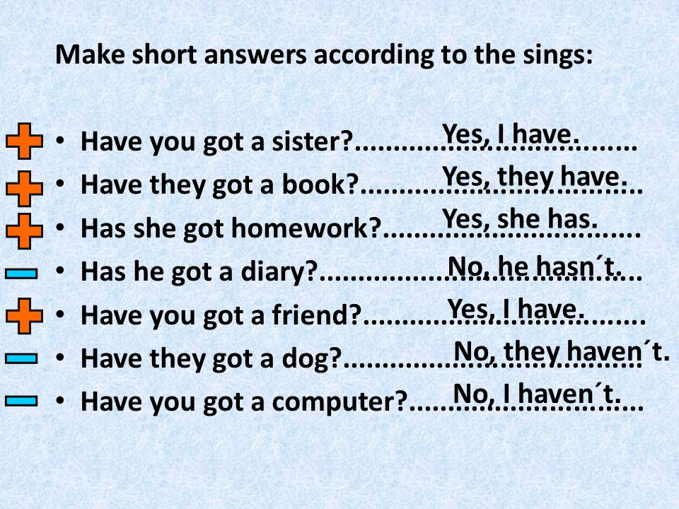 Make short answers according to the sings: Have you got a sister ....................................