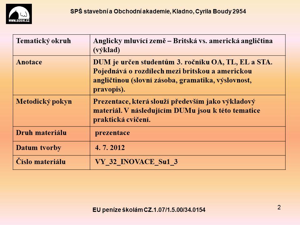 SPŠ stavební a Obchodní akademie, Kladno, Cyrila Boudy 2954 EU peníze školám CZ.1.07/1.5.00/34.0154 2 Tematický okruhAnglicky mluvící země – Britská vs.