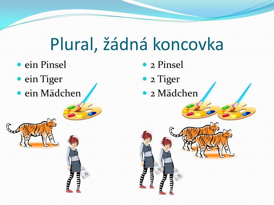 Plural, žádná koncovka ein Pinsel ein Tiger ein Mädchen 2 Pinsel 2 Tiger 2 Mädchen