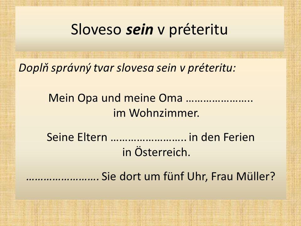 Sloveso sein v préteritu Doplň správný tvar slovesa sein v préteritu: Mein Opa und meine Oma …………………..