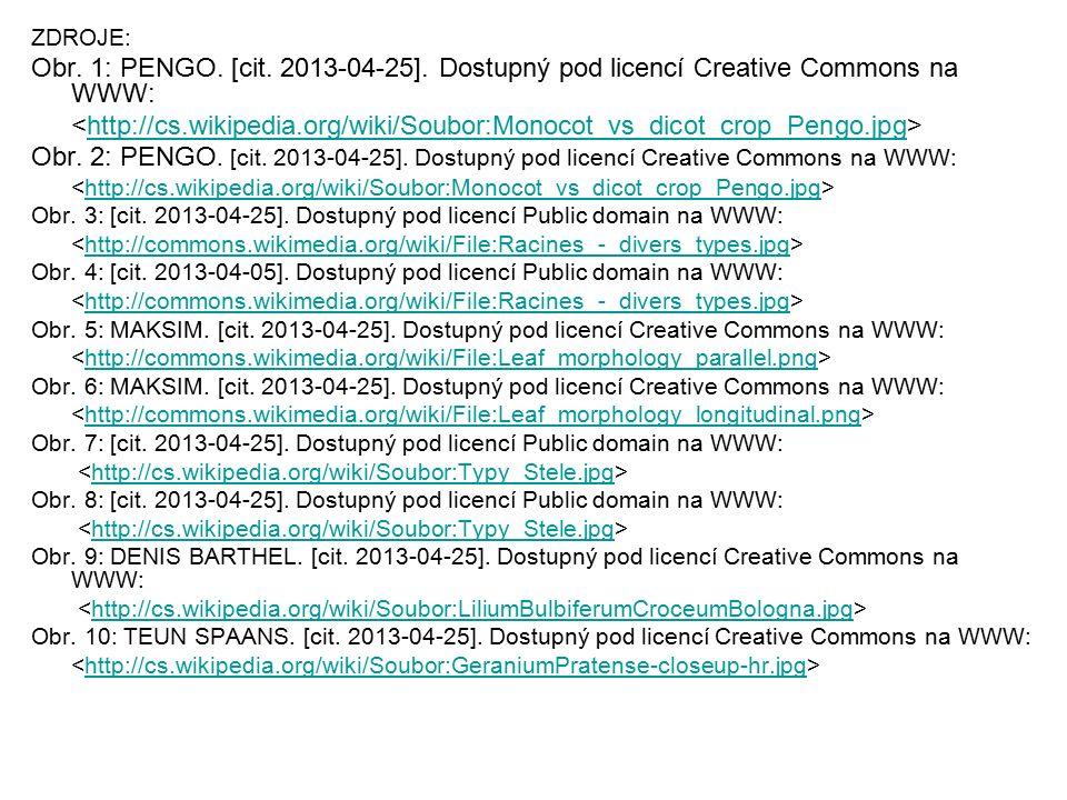 ZDROJE: Obr. 1: PENGO. [cit. 2013-04-25]. Dostupný pod licencí Creative Commons na WWW: http://cs.wikipedia.org/wiki/Soubor:Monocot_vs_dicot_crop_Peng