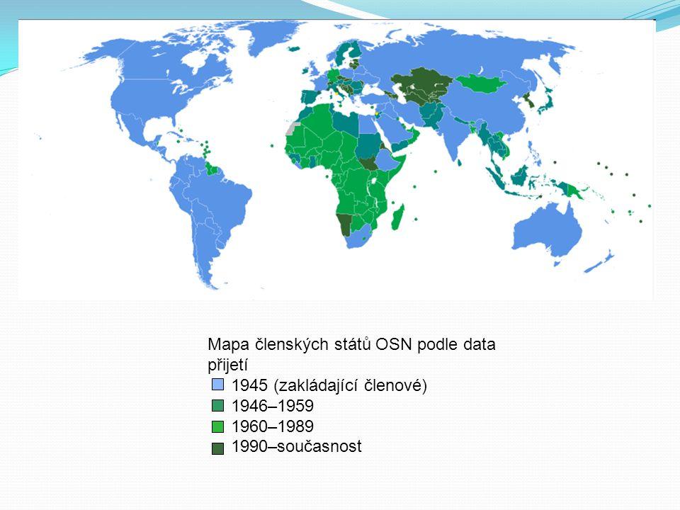 Mapa členských států OSN podle data přijetí 1945 (zakládající členové) 1946–1959 1960–1989 1990–současnost