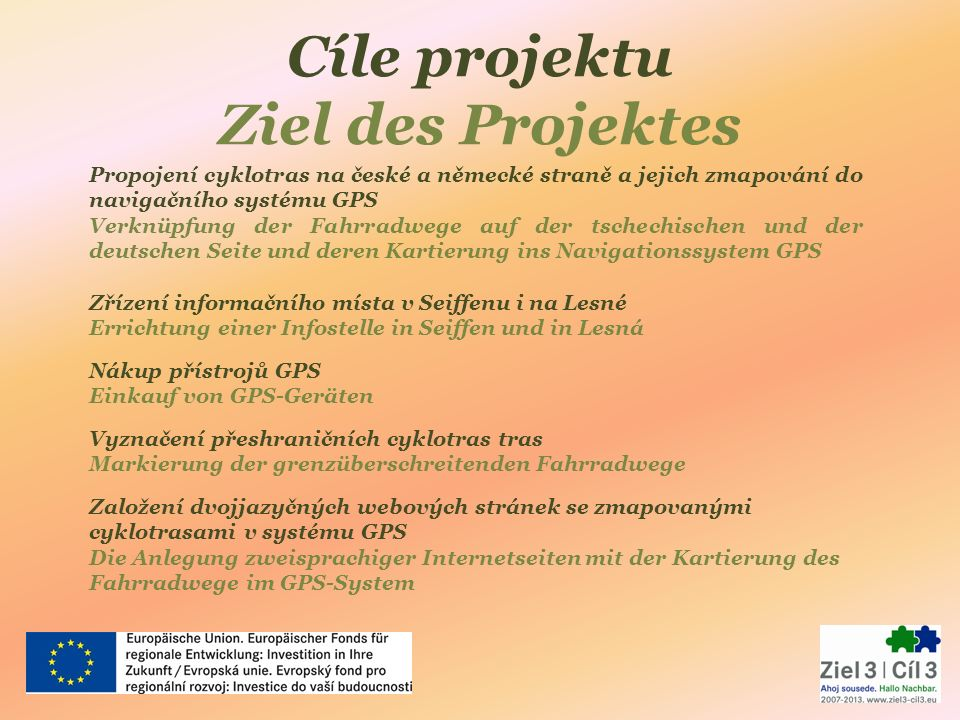 Cíle projektu Ziel des Projektes Propojení cyklotras na české a německé straně a jejich zmapování do navigačního systému GPS Verknüpfung der Fahrradwe