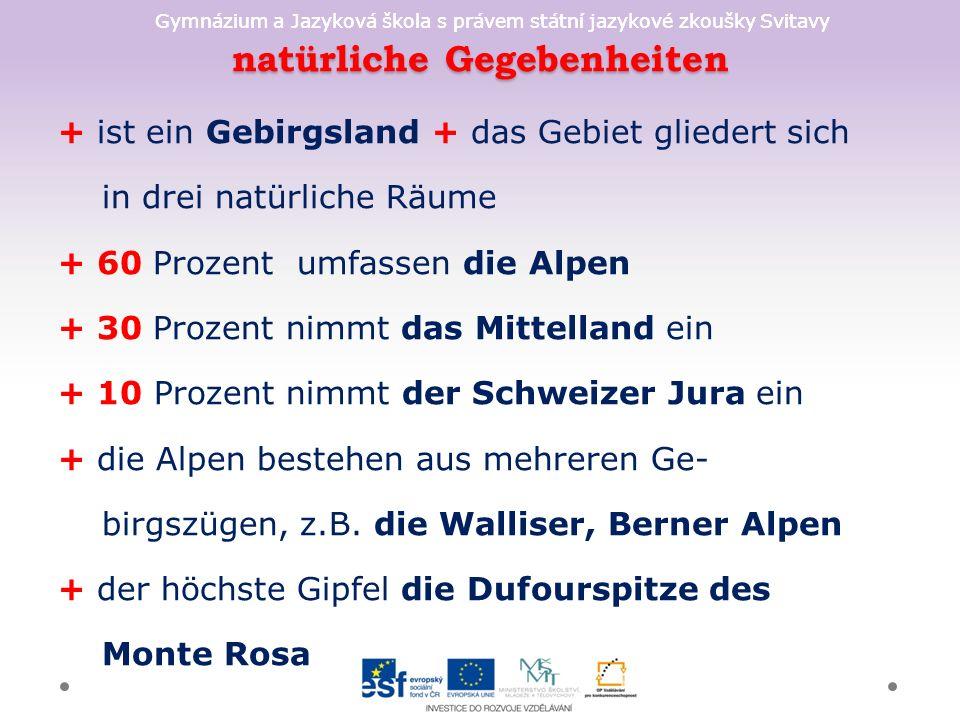 Gymnázium a Jazyková škola s právem státní jazykové zkoušky Svitavy natürliche Gegebenheiten + ist ein Gebirgsland + das Gebiet gliedert sich in drei natürliche Räume + 60 Prozent umfassen die Alpen + 30 Prozent nimmt das Mittelland ein + 10 Prozent nimmt der Schweizer Jura ein + die Alpen bestehen aus mehreren Ge- birgszügen, z.B.