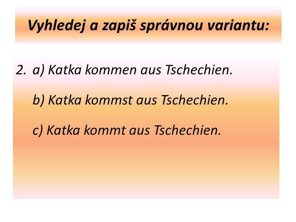Vyhledej a zapiš správnou variantu: 2. a) Katka kommen aus Tschechien.