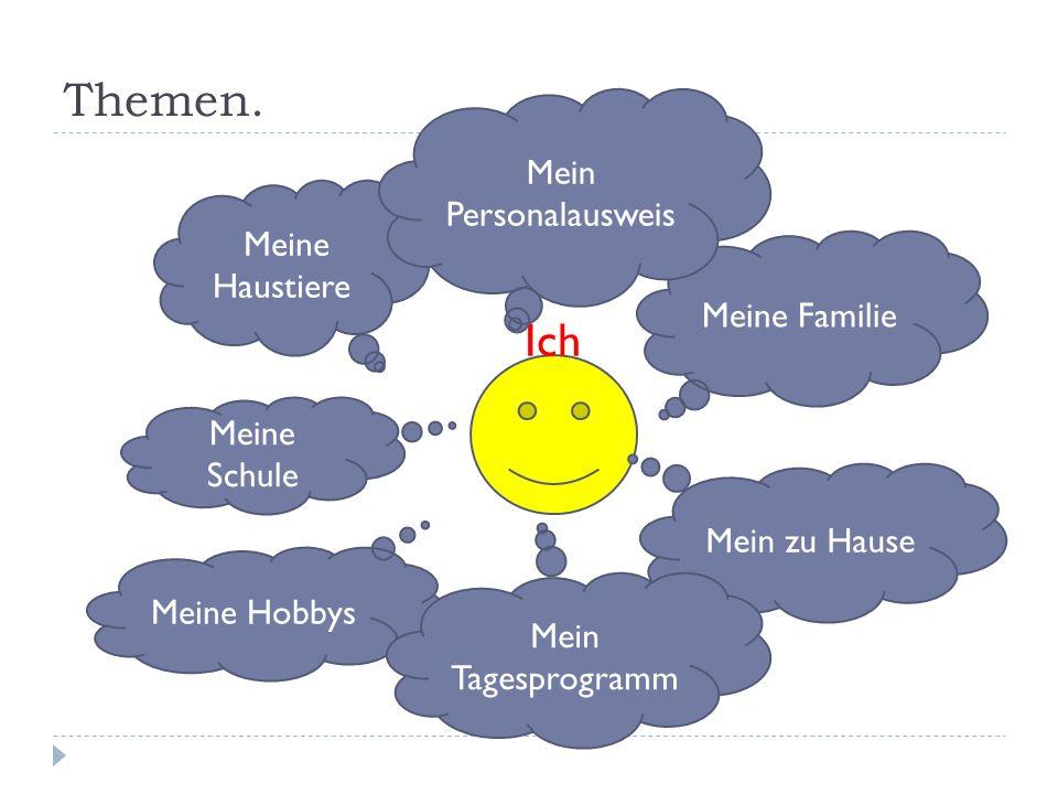 Themen. Ich Meine Familie Mein zu Hause Meine Haustiere Meine Schule Meine Hobbys Mein Personalausweis Mein Tagesprogramm