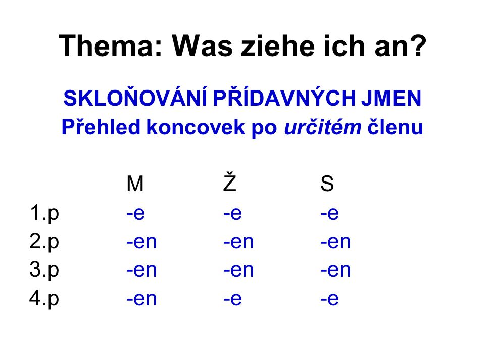 Thema: Was ziehe ich an.Děkuji za pozornost… Zdroj: HÖPPNEROVÁ, V.