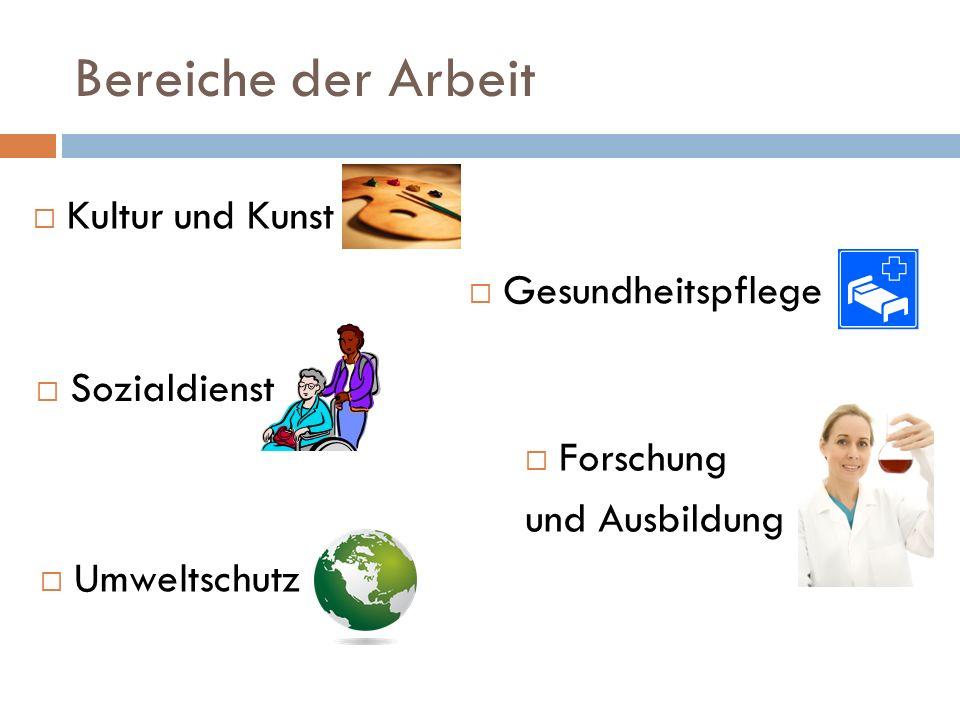 Bereiche der Arbeit  Kultur und Kunst  Umweltschutz  Sozialdienst  Gesundheitspflege  Forschung und Ausbildung