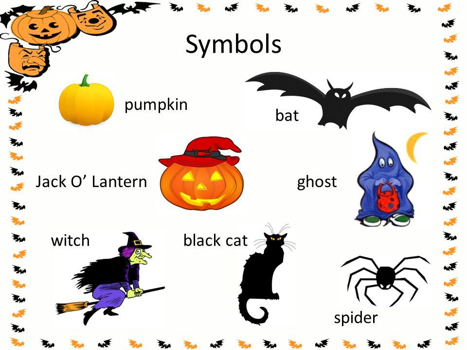 Symbols pumpkin Jack O' Lantern witch ghost bat spider black cat