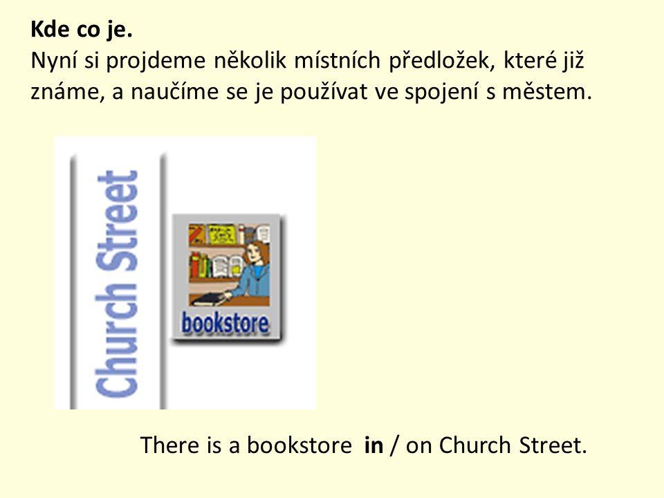 Kde co je. Nyní si projdeme několik místních předložek, které již známe, a naučíme se je používat ve spojení s městem. There is a bookstore in / on Ch