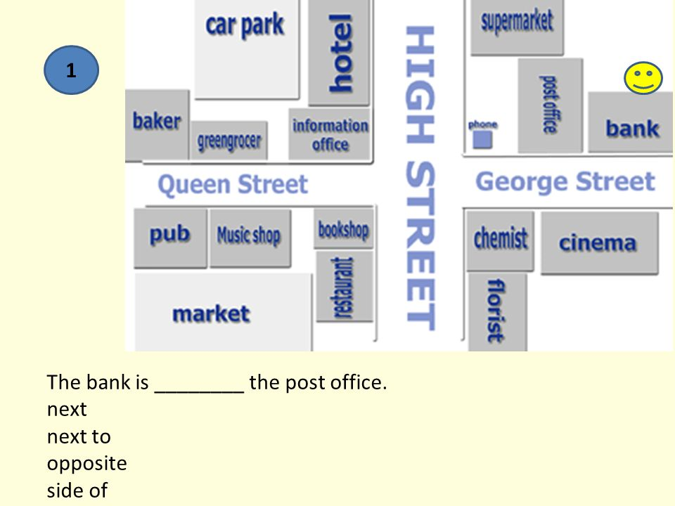 The bank is ________ the post office. next next to opposite side of 1