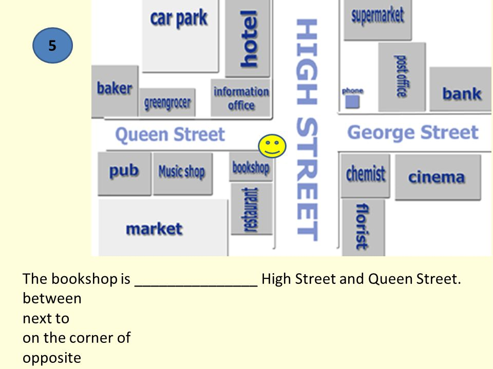 The bookshop is _______________ High Street and Queen Street.