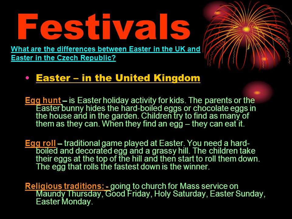 Festivals Easter – in the United Kingdom – Egg hunt – is Easter holiday activity for kids.