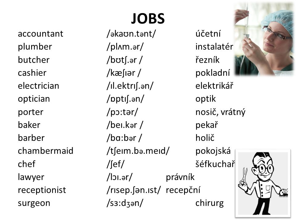 Self-check 1)What types of jobs do you know.What can you say about them.