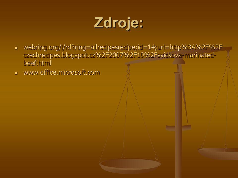 Zdroje: webring.org/l/rd ring=allrecipesrecipe;id=14;url=http%3A%2F%2F czechrecipes.blogspot.cz%2F2007%2F10%2Fsvickova-marinated- beef.html webring.org/l/rd ring=allrecipesrecipe;id=14;url=http%3A%2F%2F czechrecipes.blogspot.cz%2F2007%2F10%2Fsvickova-marinated- beef.html www.office.microsoft.com www.office.microsoft.com