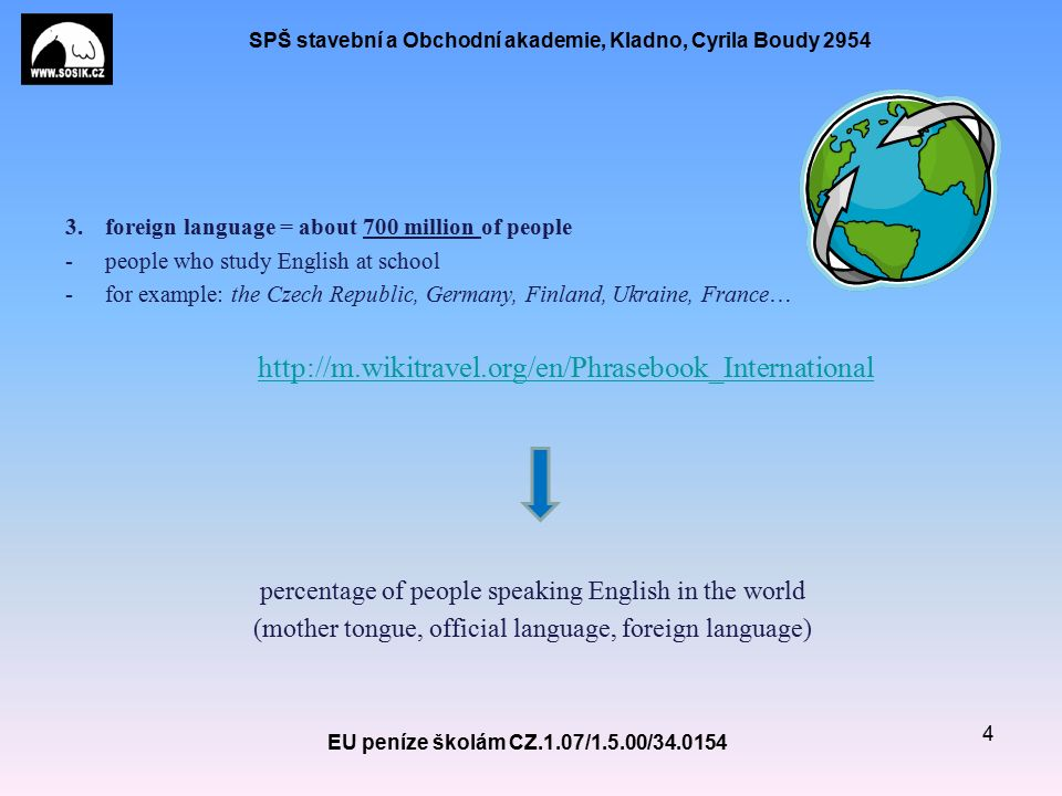 SPŠ stavební a Obchodní akademie, Kladno, Cyrila Boudy 2954 There are many reasons why English is spoken as an official language even in the countries where it is not a mother tongue.