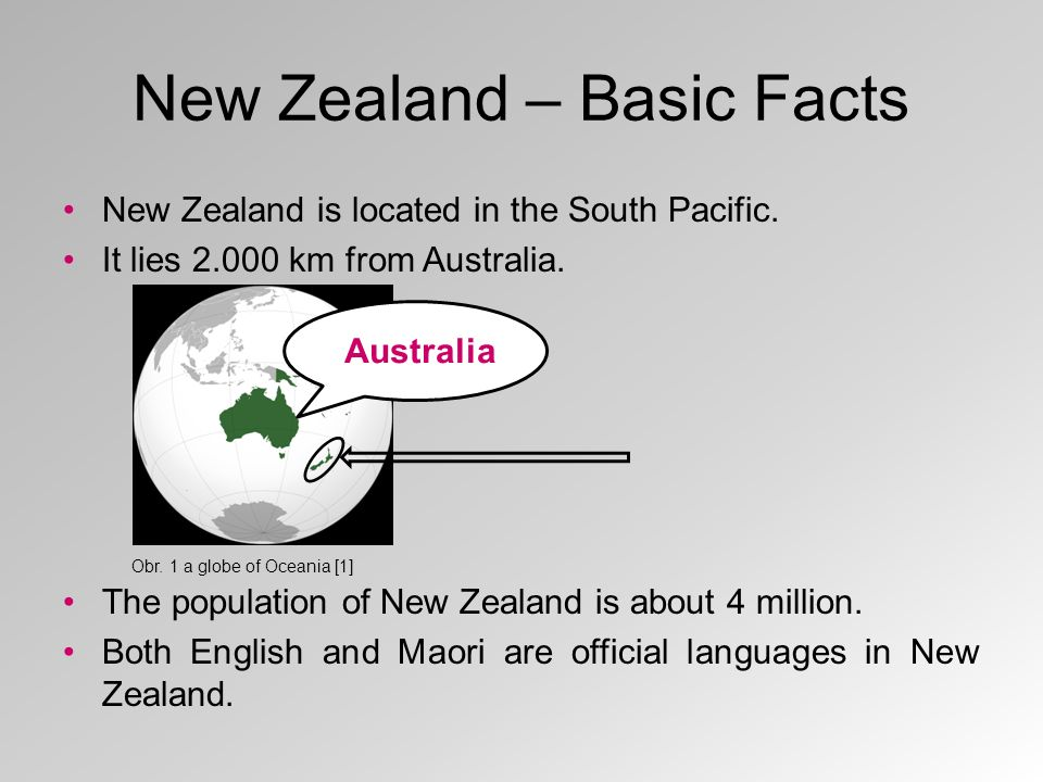 New Zealand – Basic Facts New Zealand is located in the South Pacific.