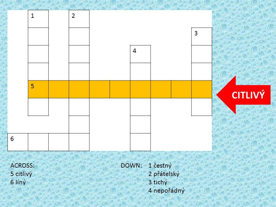 12 3 4 5 6 ACROSS:DOWN: 1 čestný 5 citlivý2 přátelský 6 líný3 tichý 4 nepořádný LÍNÝ
