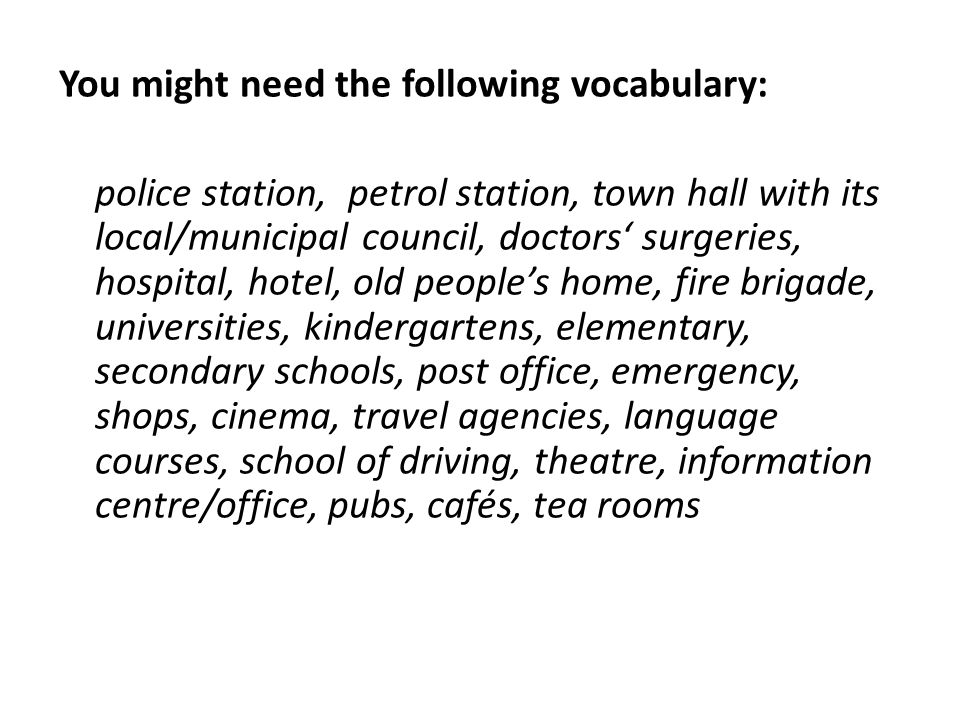 You might need the following vocabulary: police station, petrol station, town hall with its local/municipal council, doctors' surgeries, hospital, hot