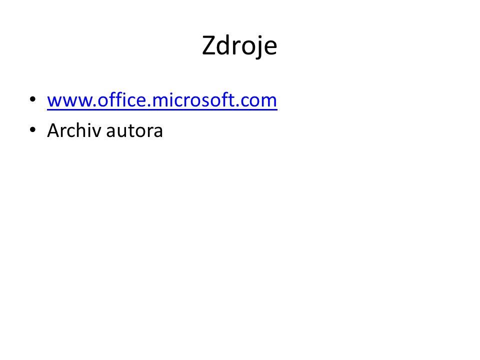 Zdroje www.office.microsoft.com Archiv autora