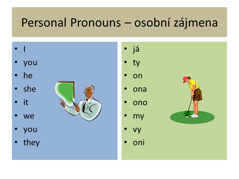 Personal Pronouns – osobní zájmena I you he she it we you they já ty on ona ono my vy oni