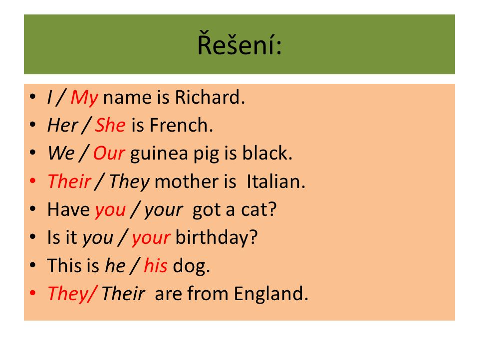 Řešení: I / My name is Richard. Her / She is French. We / Our guinea pig is black. Their / They mother is Italian. Have you / your got a cat? Is it yo