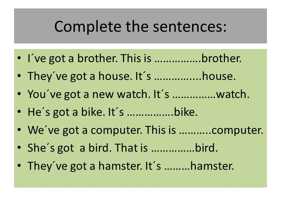 Complete the sentences: I´ve got a brother.This is …………….brother.