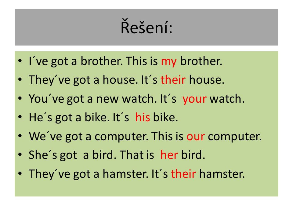 Řešení: I´ve got a brother.This is my brother. They´ve got a house.