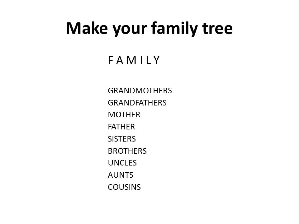 Make your family tree F A M I L Y GRANDMOTHERS GRANDFATHERS MOTHER FATHER SISTERS BROTHERS UNCLES AUNTS COUSINS