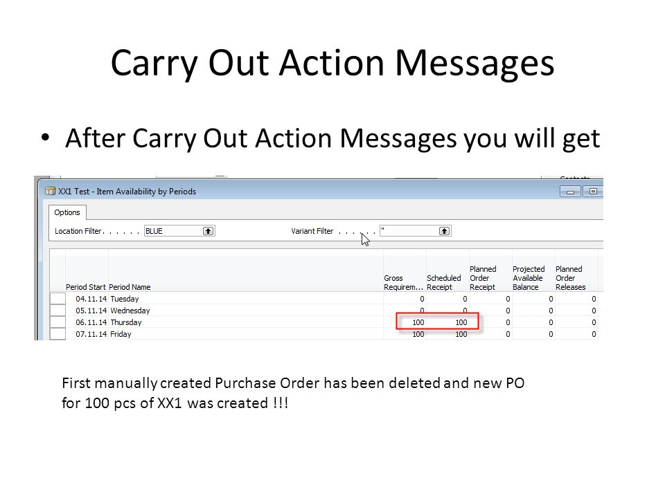 Carry Out Action Messages After Carry Out Action Messages you will get First manually created Purchase Order has been deleted and new PO for 100 pcs of XX1 was created !!!