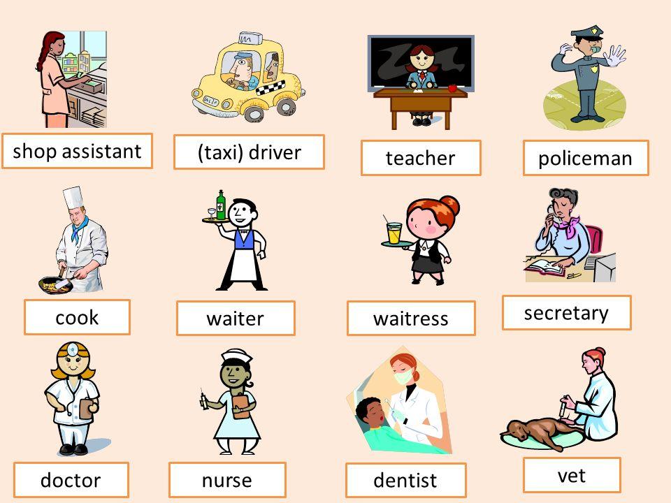 shop assistant (taxi) driver teacher policeman cook waiterwaitress secretary doctor nurse dentist vet
