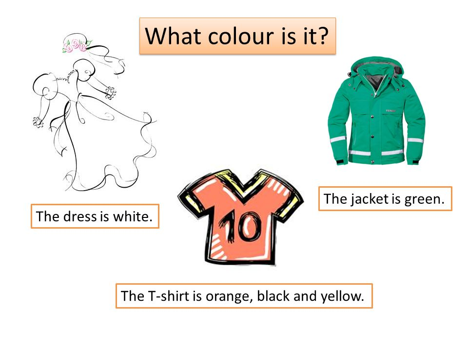 What colour is it. The dress is white. The T-shirt is orange, black and yellow.