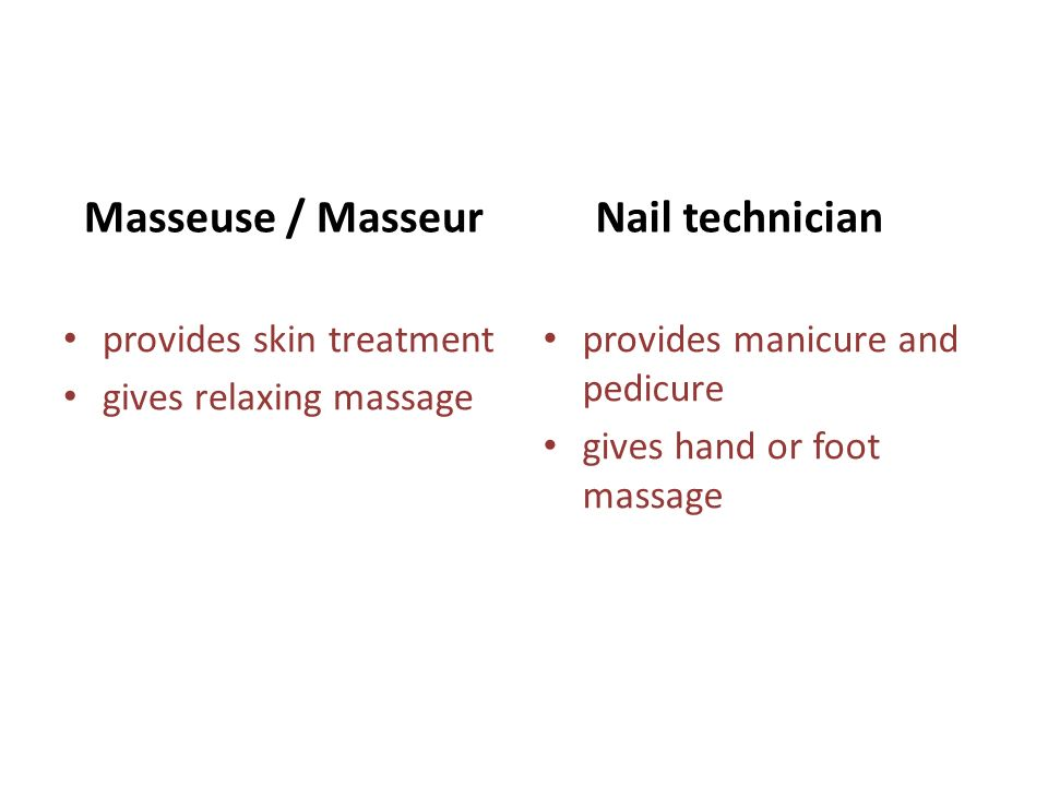 Masseuse / Masseur provides skin treatment gives relaxing massage Nail technician provides manicure and pedicure gives hand or foot massage