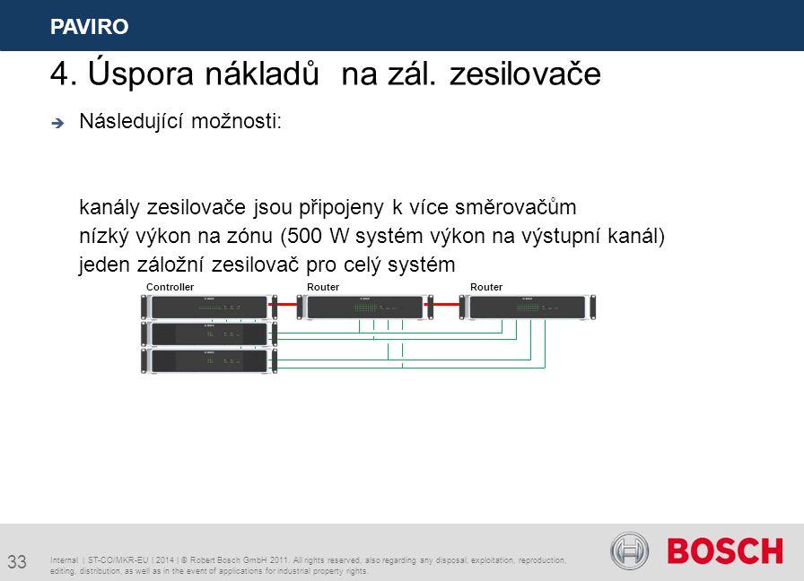  Následující možnosti: kanály zesilovače jsou připojeny k více směrovačům nízký výkon na zónu (500 W systém výkon na výstupní kanál) jeden záložní zesilovač pro celý systém Internal | ST-CO/MKR-EU | 2014 | © Robert Bosch GmbH 2011.