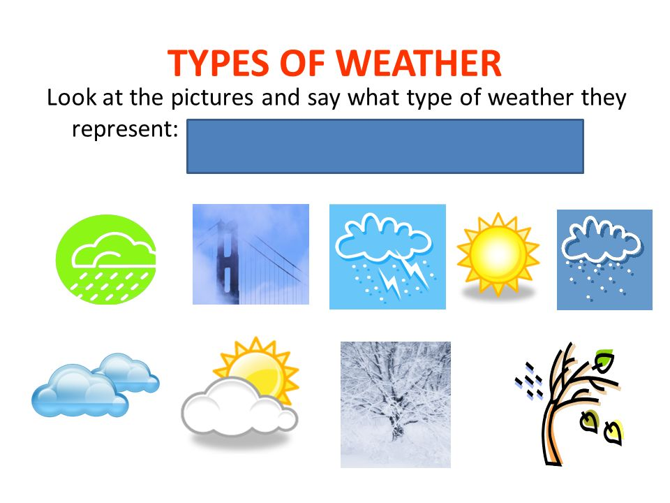 TYPES OF WEATHER Look at the pictures and say what type of weather they represent: rainy, foggy, stormy, sunny, snowy, overcast, sunny spells, frosty, windy