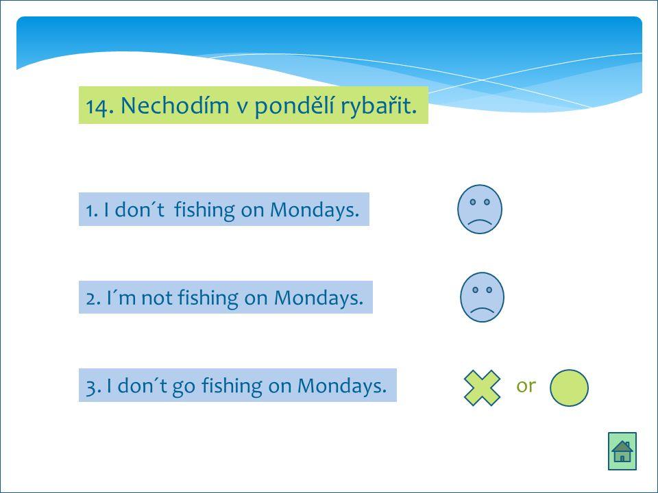 14. Nechodím v pondělí rybařit. 1. I don´t fishing on Mondays.